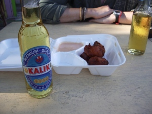 Conch fritters and a cold ass beer